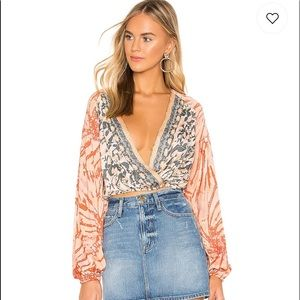 Free People Cruisin Together Printed Top Sz Large
